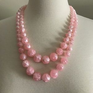 Vintage 1960s Pink 2 Tier Beaded Necklace